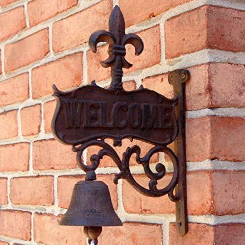 OKSLO Rustic CAST IRON art FLEUR DE LIS Old Welcome Dinner BELL antique wall decor