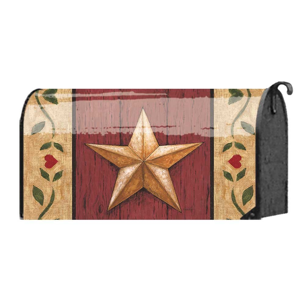 Welcome Barn Star on Red Wood Door 22 x 18 Standard Size Mailbox Cover