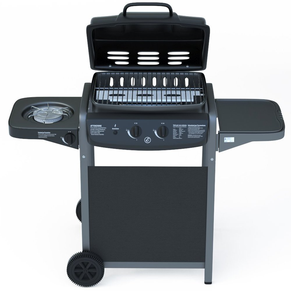 Gas Barbecue with Integrated Digital Thermometer and Burner Side Cooker - BBQ and Grill in Stainless Steel Barbecue Garden Outdoor Pool Terrace in Black Steel Lacquered and ABS 112 x 52.5 x 96.5 cm Bricok