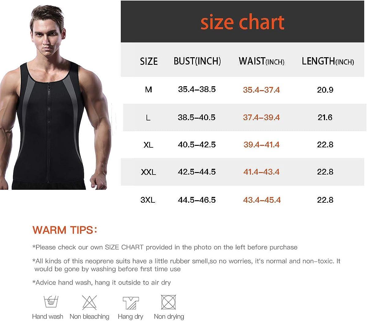 FORENJOY Mens Neoprene Sweat Vest Sauna Suit Body Shaper Weight Loss Zipper Tank Tops Active Training Shirt