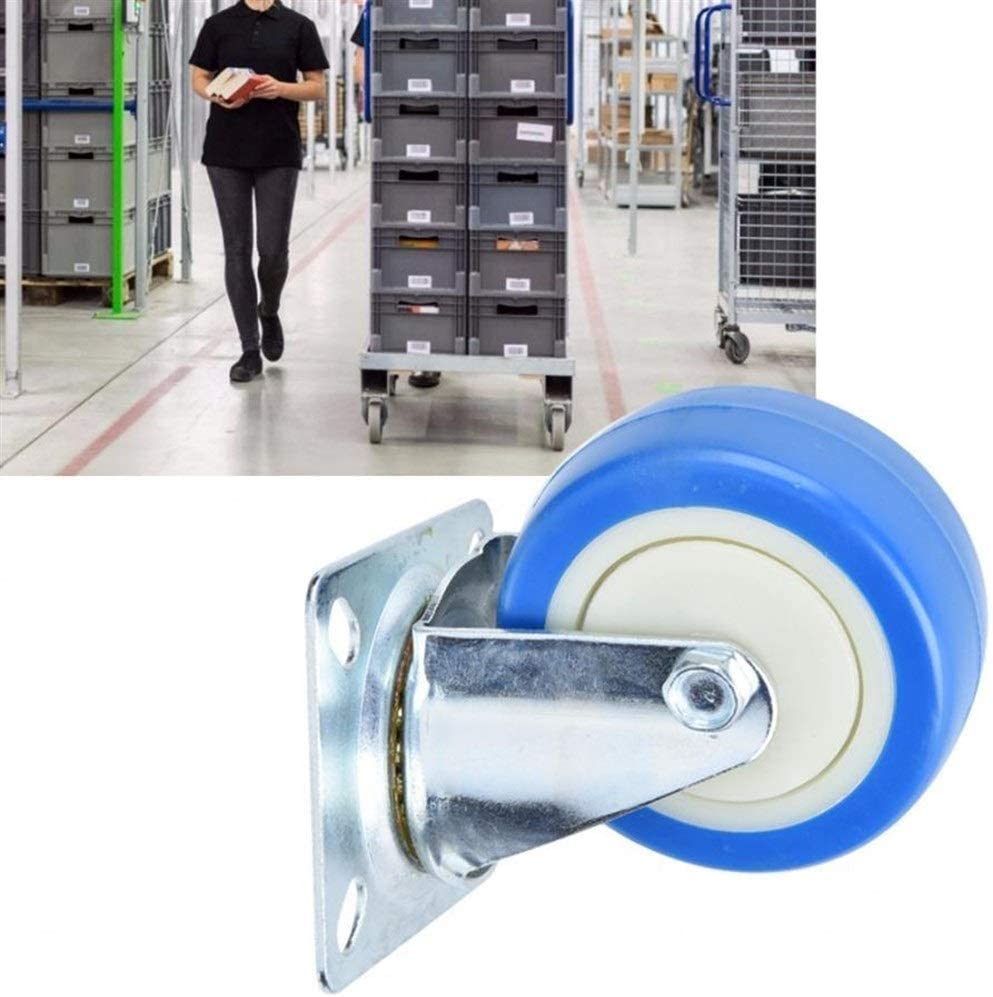 Color : Fixed Caster CHENTAOMAYAN 4Pcs PVC Caster Light Type 3 Inches Single Shaft Brake Wheels 40KG Load Bearing Castor Wheels for Trolley Rubber Wheels Roller