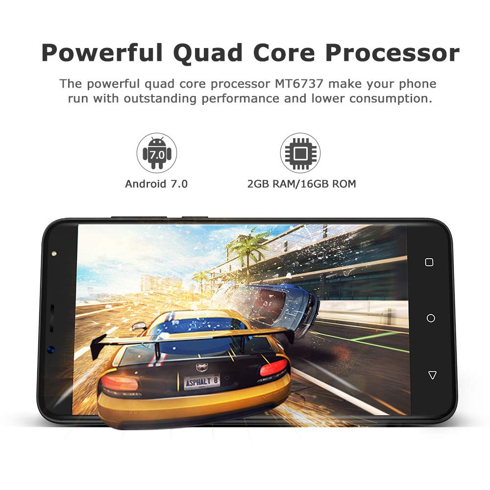 4G Handy Ohne vertrag 5,5 Zoll, 2GB+16GB, Android 7.0 Handy Dual SIM, 8MP+5MP Kamera, HD 1280 * 720 Bildschirm, Akku 2970mAh, Wieppo S6 Unlocked Smartphone Bluetooth GPS OTG (Schwarz)