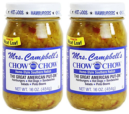- Mrs. Campbell's All Natural Sweet Southern Chow Chow Relish, 16 Oz Glass Jar (Pack of 2)