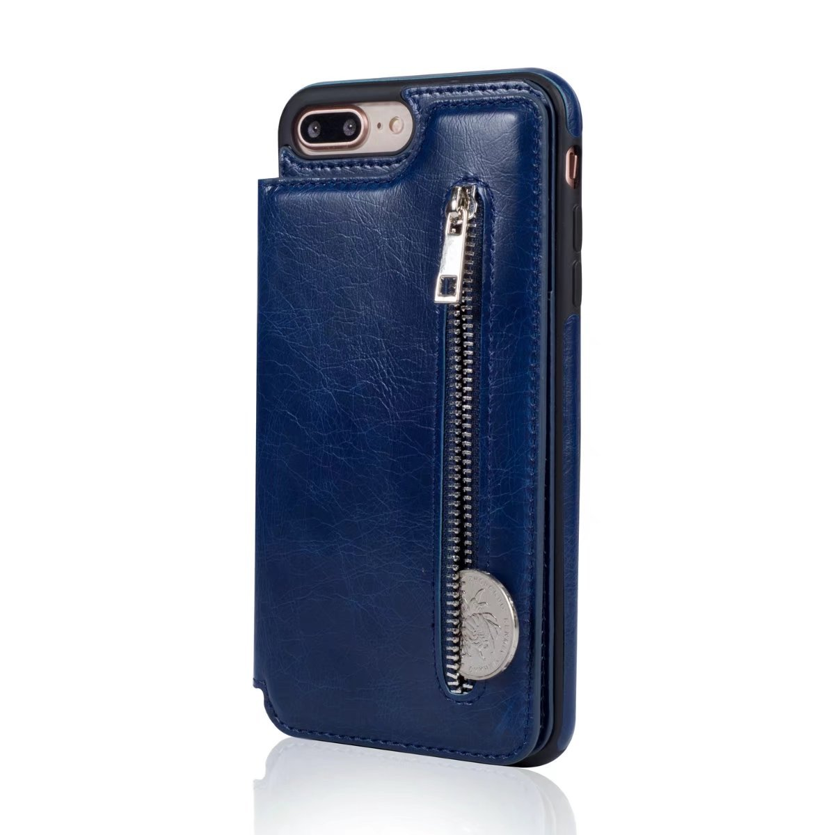 Abtory iPhone 8 Plus Case, Wallet Case with Credit Card Holder Slim Leather Shockproof Protective Hybrid Case with Stand Phone Case for iPhone 7 Plus/iPhone 8 Plus Blue by Abtory (Image #3)