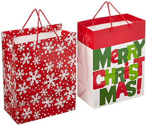 Hallmark Christmas Large Gift Bags (Snowflakes and Merry Christmas, 2 Pack)