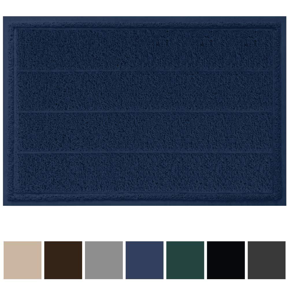Gorilla Grip Original Durable Indoor Door Mat, 35x23, Large Size, Heavy Duty Doormats, Commercial Waterproof Stripe Doormat, Easy Clean, Low-Profile Mats for Entry, High Traffic Areas, Navy Blue