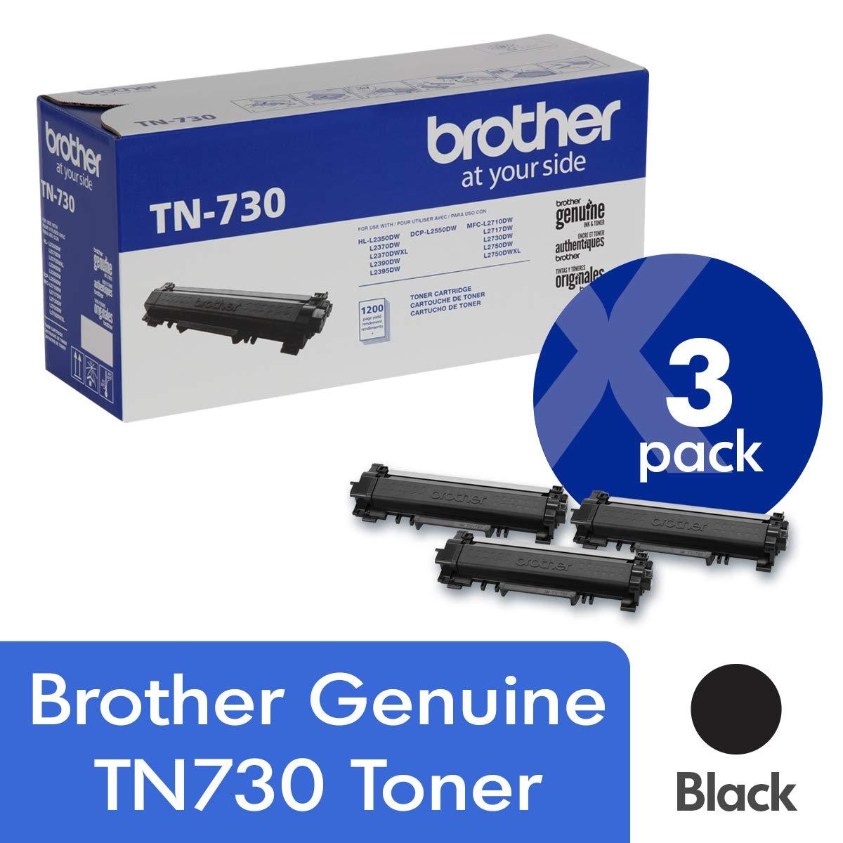 Toner Original BROTHER TN730 3-Pack Normal Capacidad Black con Aprox. 1,200 Páginas