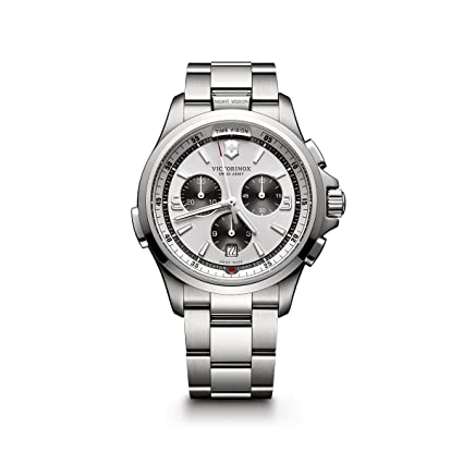 Victorinox Swiss Army Night Vision Chronograph 241728 Silver / Silver Stainless Steel Analog Quartz Men's Watch