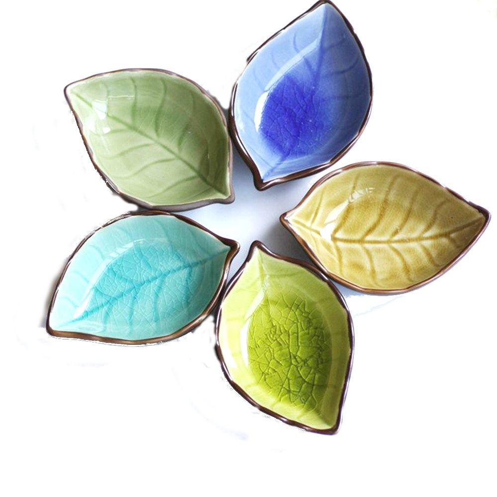 OliaDesign Leaf Plates (Set of 5), Multicolor 3869