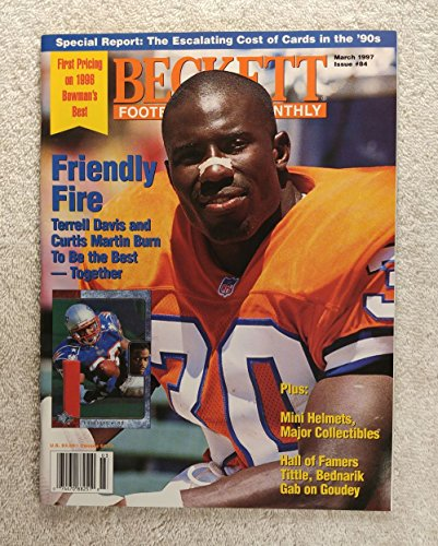 Terrell Davis - Denver Broncos - Beckett Football Card Monthly - #84 - March 1997 - Back Cover: Terry Glenn (New England Patriots) Beckett Football Magazine Cover