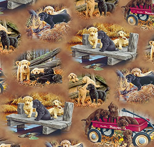 Labrador Puppy Fabric Labrador-able Vignettes in Light Brown Fabric by The Yard