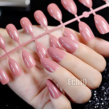 echiq 24pcs reddish-brown Oval Sharp End Stiletto puntas de uñas postizas, color marrón marrón café uñas postizas manicura uñas postizas Salon: Amazon.es: ...