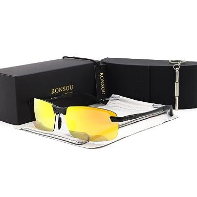 RONSOU Herren UV400 Randlos Aluminium-Magnesium Polarisiert Männer Sonnenbrille zum Fahren Angeln Golf Draussen schwarz rahmen/gold linse bHL0wwEA