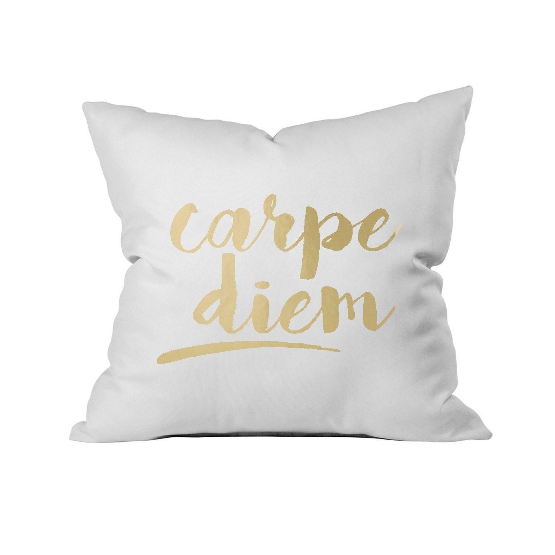 Oh, Susannah Carpe Diem Cursive 18'' x 18'' Throw Pillow Cover Gold Inspirational Pillowcases