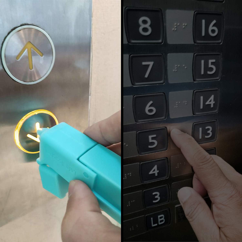 Para Gancho De Manija De Puerta P/ública Herramienta De Pl/ástico Sin Contacto Dispositivo Para Presionar Botones Verde TOYMIS Abridor De Puerta De Contacto No Directo