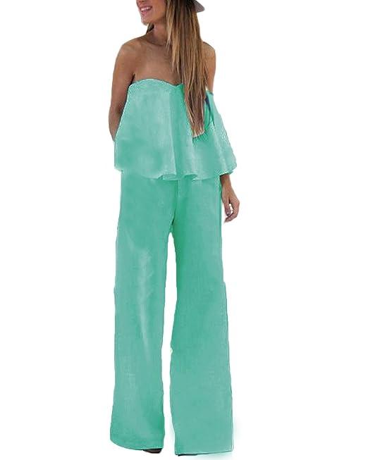 Auxo Mujer Jumpsuit Monos Tops sin Tirantes Pantalones Cintura Alta Monos Chulo Traje Verde ES 42/Asia XL