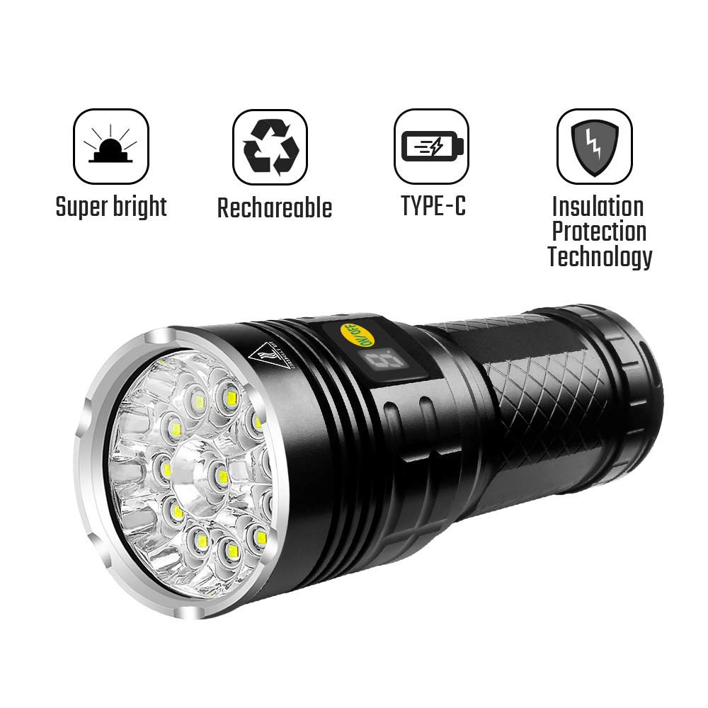 Semlos 10000 Lumen Flashlight, Super Bright Led Flashlight, Rechargeable Type-C 12xLEDs 4 Modes Torch with Insulation Protection Technology&Battery Indicator