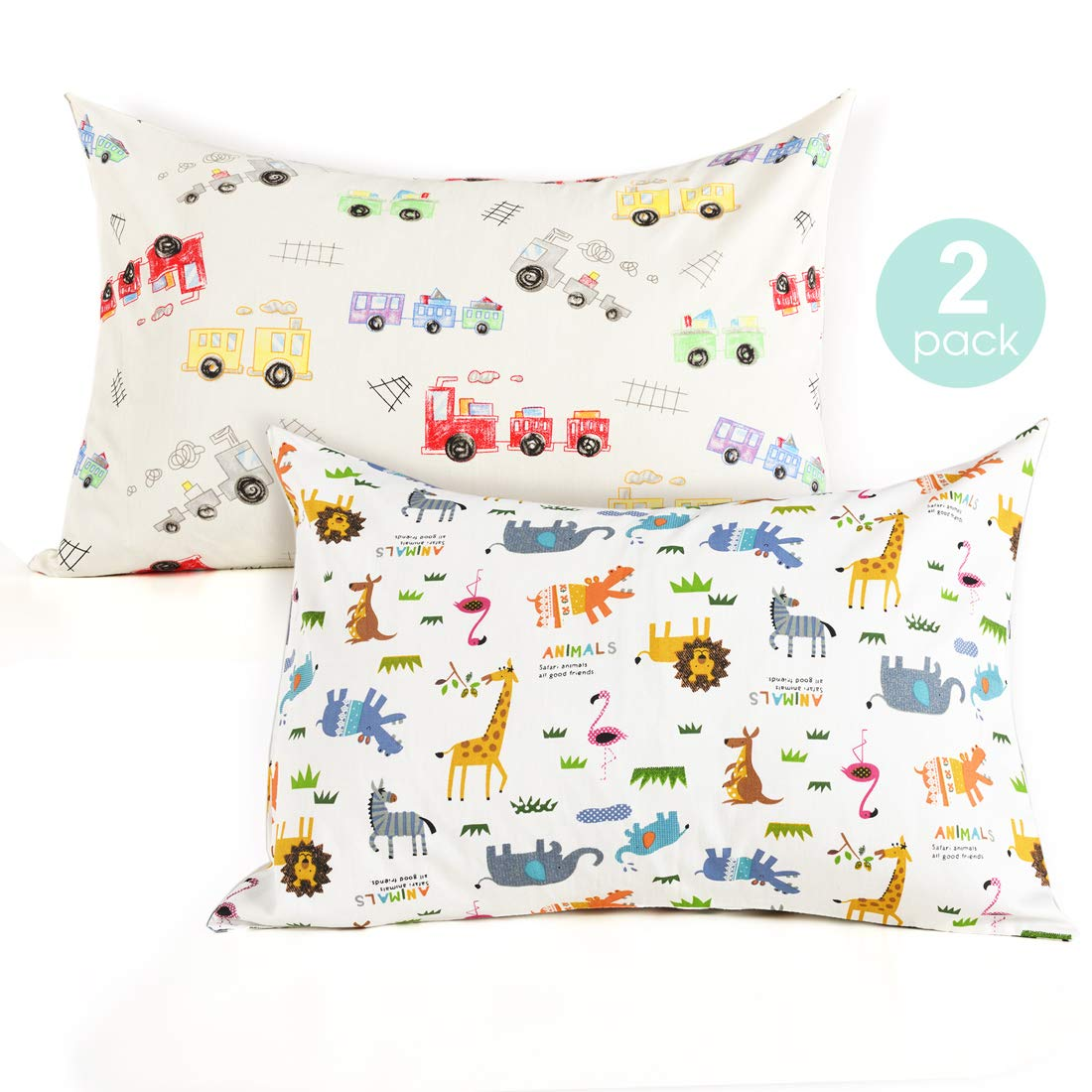 Kids Toddler Pillowcases-2 Pack Pillow Cover for Boys Girls Kids Bedding,Animal Paradise/Car by COSMOPLUS