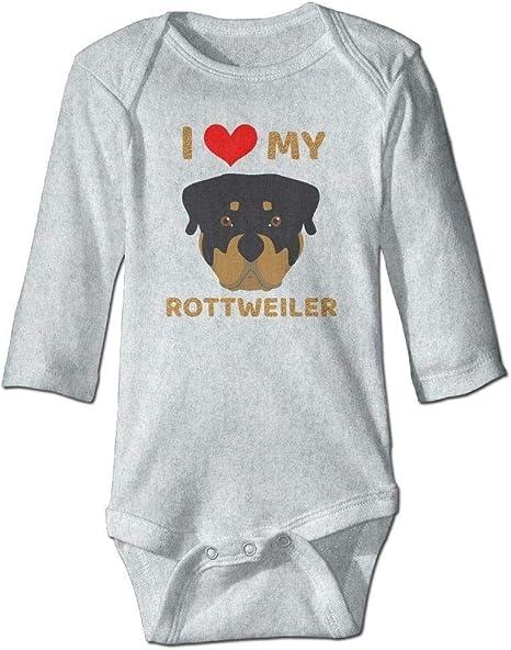 braeccesuit Baby I Love My Rottweiler Long Sleeve Romper Onesie Bodysuit Jumpsuit