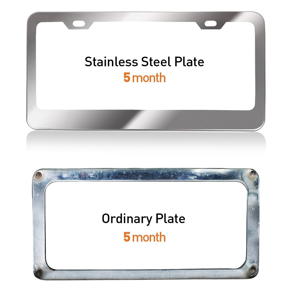License Plates Frames Car Bottom License Plate Frames 2Pcs 2 Holes Silver Licenses Plate Covers Replacement fit for US Vehicles cciyu 122440-5210-1123268556