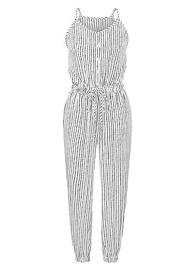 8ca5706c43f Romacci Jumpsuit Spaghetti Strap Drawstring High Waist Racer Casual Romper   Amazon.ca  Clothing   Accessories