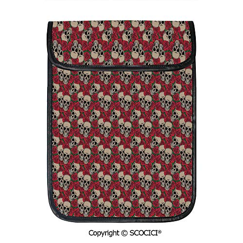 SCOCICI Shockproof Tablet Sleeve Compatible 12.9 Inch iPad Pro Graphic Skulls and Red Rose Blossoms Halloween Inspired Retro Gothic Pattern Tablet Protective Bag ()