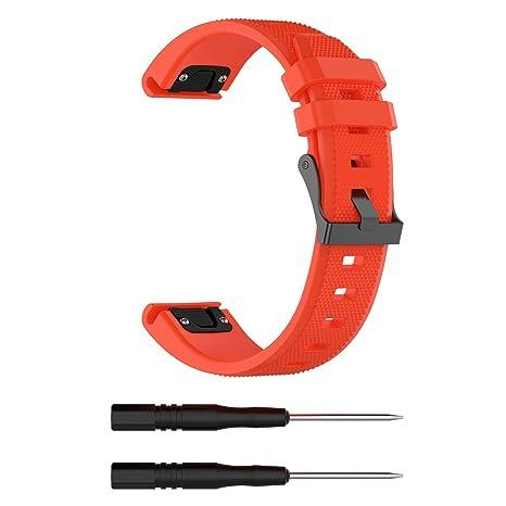 Chofit à Ajustement Rapide 22 mm Watch Band pour Garmin Approach S60 Montre GPS de Golf élastique en Silicone de Remplacement, Orange: Amazon.fr: Sports et ...