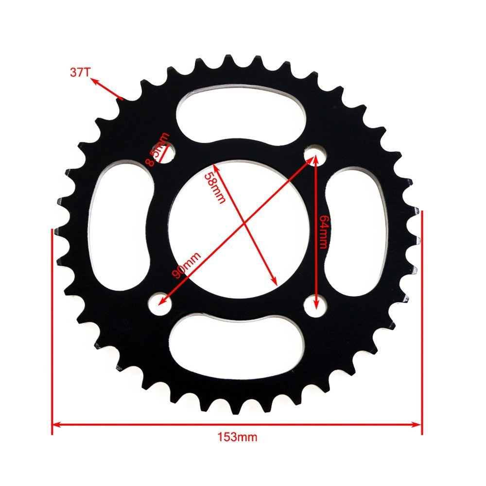 ZXTDR 420 58mm 37 Tooth Rear Chain Sprocket for Chinese Pit Dirt Bike 110cc 125cc 150cc