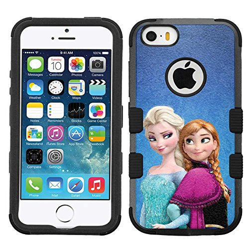 for iPhone SE/5/5s, Hard+Rubber Dual Layer Hybrid Heavy-Duty Rugged Armor Cover Case - Frozen #Sisters Elsa Anna