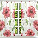 Cheap ALAZA 2 PCS Window Decoration Sheer Curtain Panels,Vintage Floral Red,Polyester Window Gauze Curtains Living Room Bedroom Kid's Office Window Tie Top Curtain 55×78 inch Two Panels Set