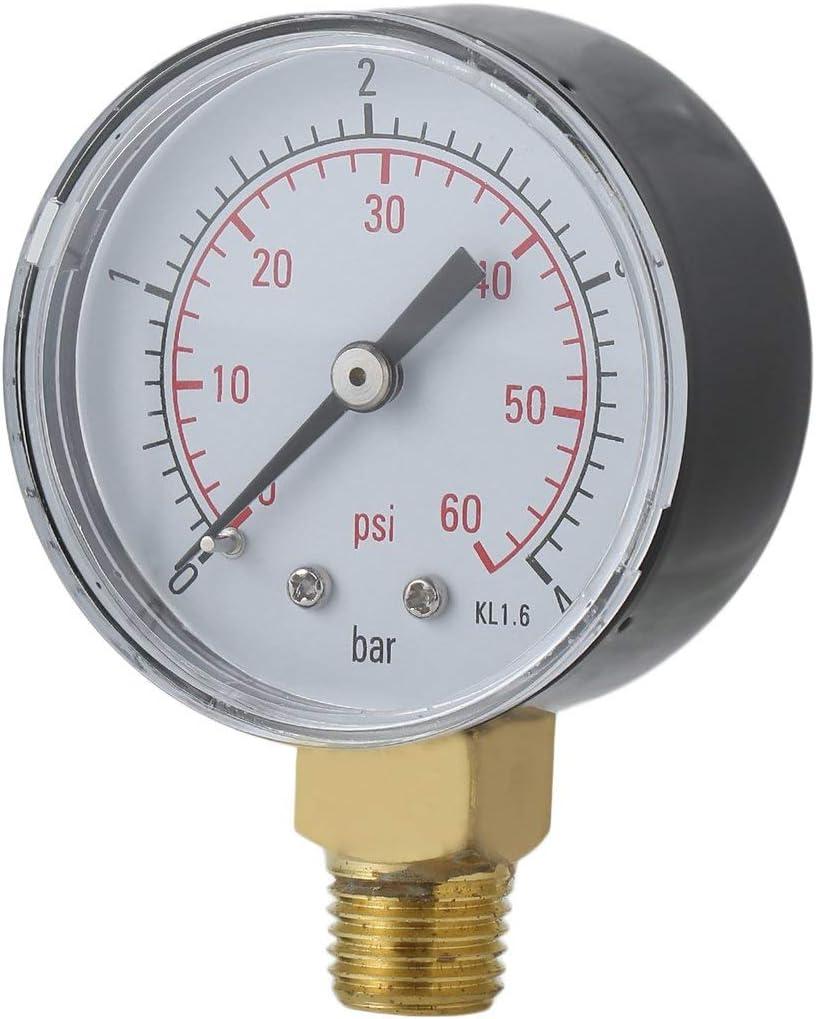 WOSOSYEYO Práctico Piscina SPA Filtro Manómetro de presión de Agua Mini 0-60 PSI 0-4 Bar Montaje Lateral 1/4 Pulgada Rosca de Tubo NPT TS-50