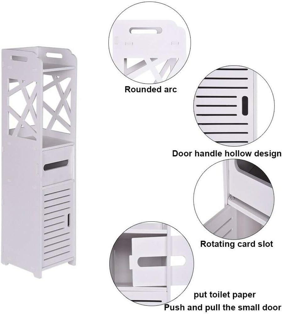 theoneshop66 Bathroom Floor Cabinet Storage Toilet Bath Organizer Drawer Shelf White Wood