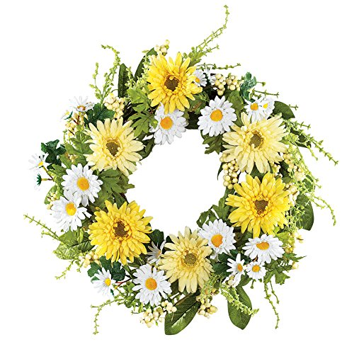 Collections Etc Yellow and White Daisy Wreath, ()