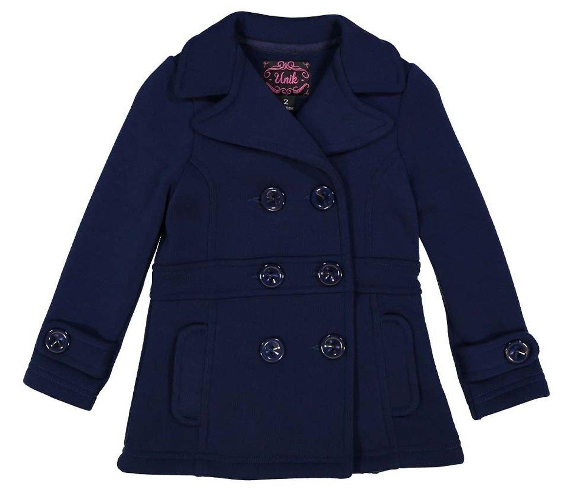 unik Girl Fleece Coat with Buttons, Navy Size X-Large