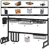 Over Sink Dish Drying Rack Kitchen Counter Storage Shelf Drainer Organizer Utensils Holder Stainless Steel, Black