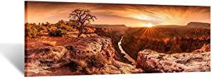 Kreative Arts Large Canvas Wall Art Beautiful Landscape of Grand Canyon National Park Arizona USA Panoramic Sunset Moment Pictures Modern Home Decor Stretched and Framed Ready to Hang 55x20inch