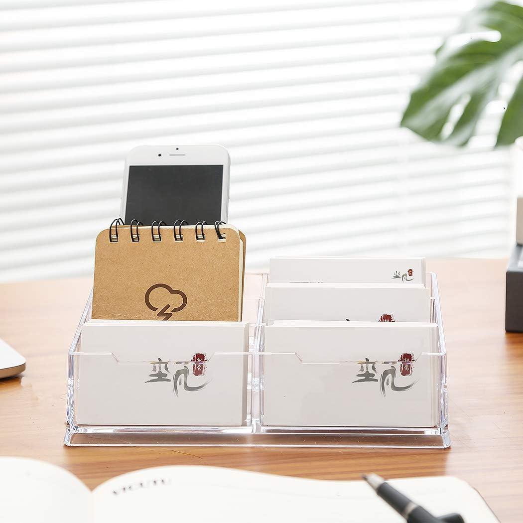 Digead Business Card Holders, Acrylic Card Display Desk Stand Holder, Transparent Business Card Holder for Desk - 6Grids