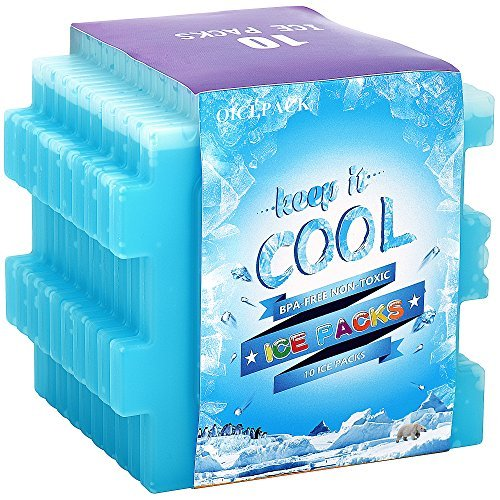OICEPACK Ice Packs (set of 10),Cool Pack for Lunch Box,Freezer Packs for Lunch Bags and Coolers,Ice Pack Slim Reusable,Long-Lasting Freezer Ice Packs,Ice Packs-Great for Coolers,Ice Cube Blue by OICEPACK