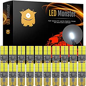 LED Monster 20-Pack White LED Light Bulbs RV Trailer 24-SMD T10 921 194 168 2825 12V Backup Reverse Interior Side Trailer (White)