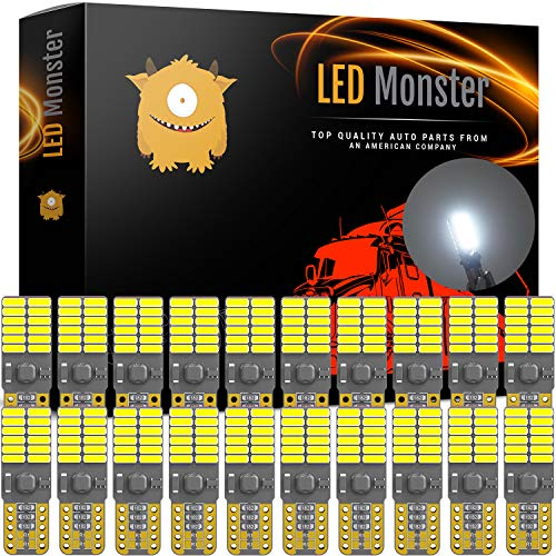 LED Monster 20-Pack White LED Light Bulbs RV Trailer 24-SMD T10 921 194 168 2825 12V Backup Reverse Interior Side Trailer (White) ()