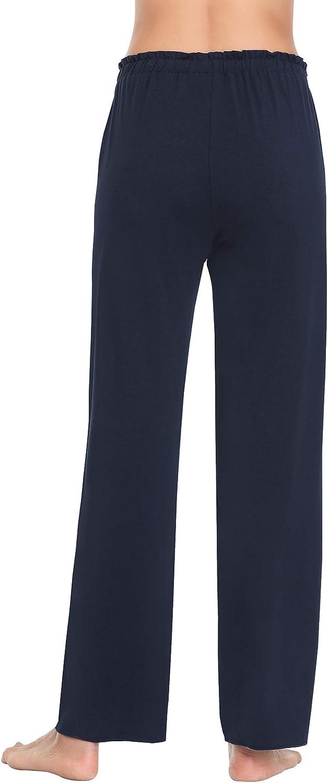 COLORFULLEAF Womens Bamboo Pajamas Pants Ruffled Waist Lounge /& Sleep Bottoms with Pockets