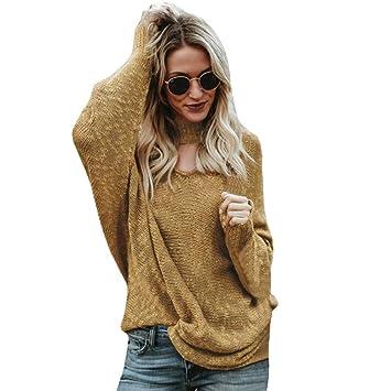 ❤ Blusas para Mujer,Modaworld Camisa de Otoño Invierno de Manga Larga de Mujer Suéter Suelto Sólido niña Jersey Camiseta Tops Abrigo Chaqueta Outerwear: ...