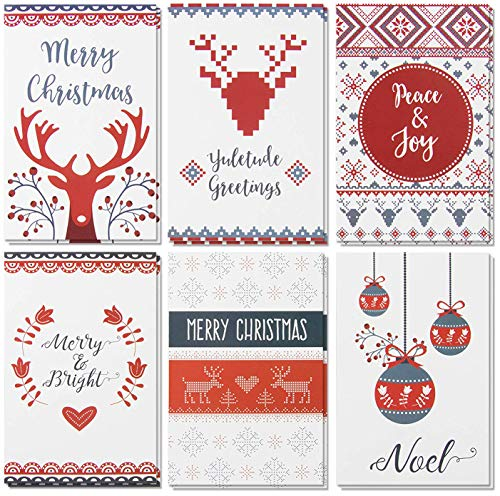 - 48-Pack Merry Christmas Holiday Greeting Card - Happy Holidays Xmas Cards in 6 Fair Isle Print Designs, Bulk Assorted Festive Winter Holiday Cards with Red Envelopes, 4 x 6 Inches