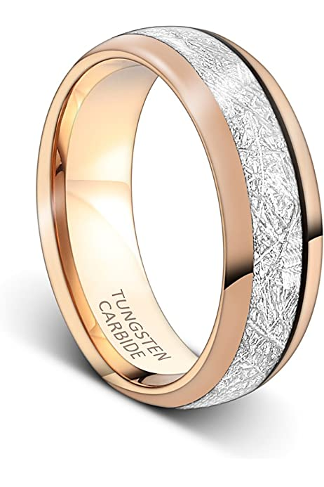 Tusen Jewelry Mens Rings 8mm Rose Gold Tungsten Carbide Ring