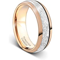 Free Inside Engraving 6MM /& 8MM Tungsten Mahogany Wood And Silver Meteorite Wedding Set In Modern 18K Rose Gold