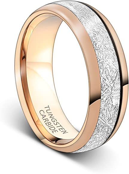 a4e51b2cd2582 Mens Rings 8mm Rose Gold Tungsten Carbide Ring Imitated Meteorite Inlay  Wedding Band