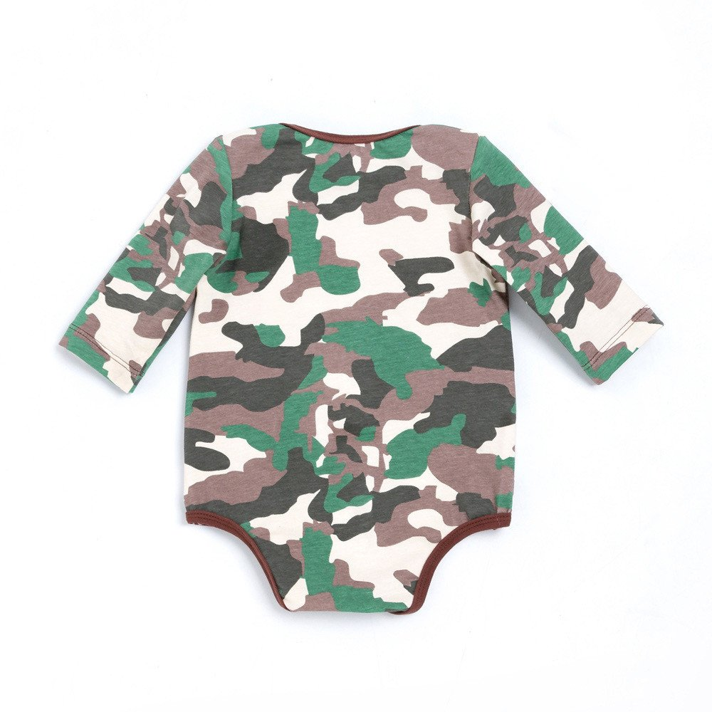 Baby Boy/&Girl Camouflage Eyes Print Long Sleeve Romper Clothes Outfit