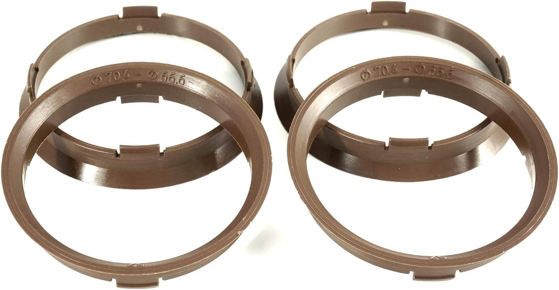 4 anneaux de centrage 70,4 x 66,6//70 4 /à 66 6 marron fonc/é compatible avec Rondell Audi A5 A6 A7 Q3 Q5 Q7 BMW Mercedes