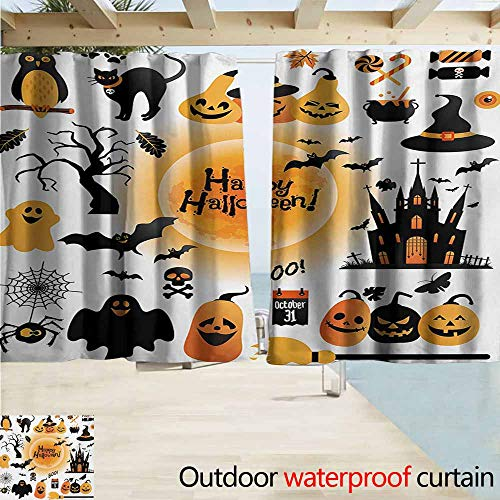 Zmacdk Halloween Outdoor Curtain All Hallows Day Objects Haunted House Owl and Trick or Treat Candy Black Cat Simple Stylish W63 xL72 Orange Black