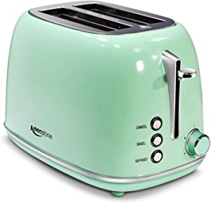 2-Slice Toasters Stainless Steel Retro Toaster with Extra Wide Slots - Pastel Green